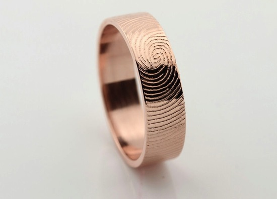 Rose Gold Thumbprint Wedding Band