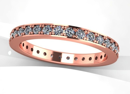 Shiny Rose Gold Wedding band with diamonds