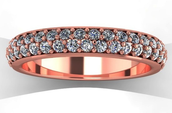 Rose Gold Wedding Band with Two Rows of Diamonds