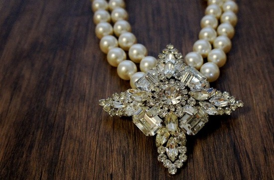 photo of Statement Wedding Jewelry by House of Noyes vintage pearl necklace