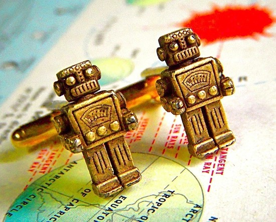 Vintage Robot Cuff Links for Geeky Grooms