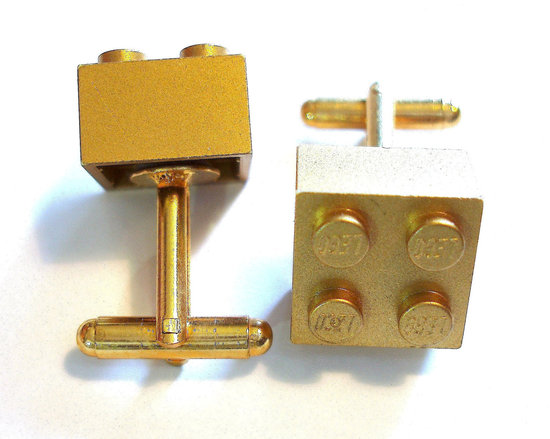 Gold Lego Cufflinks for Geeky Grooms