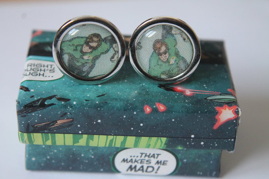 Green Lantern Geeky Grooms Cuff Links