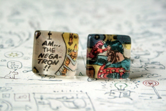 comic cuff links for geeky grooms