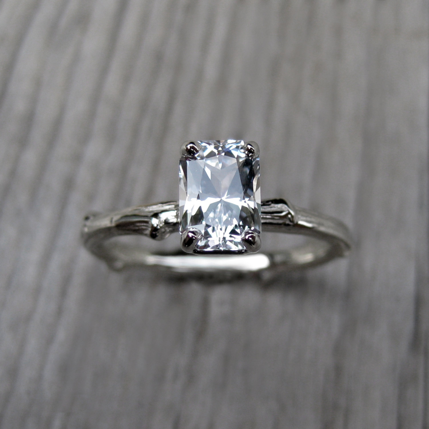 emerald cut engagement ring white sapphire onewed