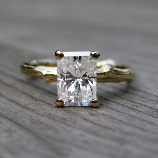 Emerald Cut Engagement Ring with Moissanite Stone