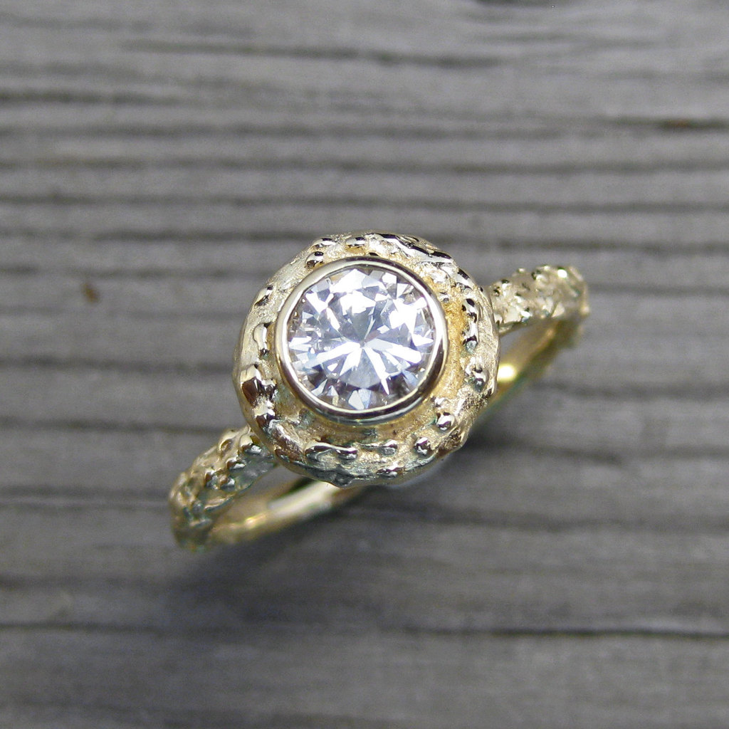 Recycled Engagement ring moissanite stone