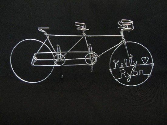Personalized wedding cake topper tandem bikes