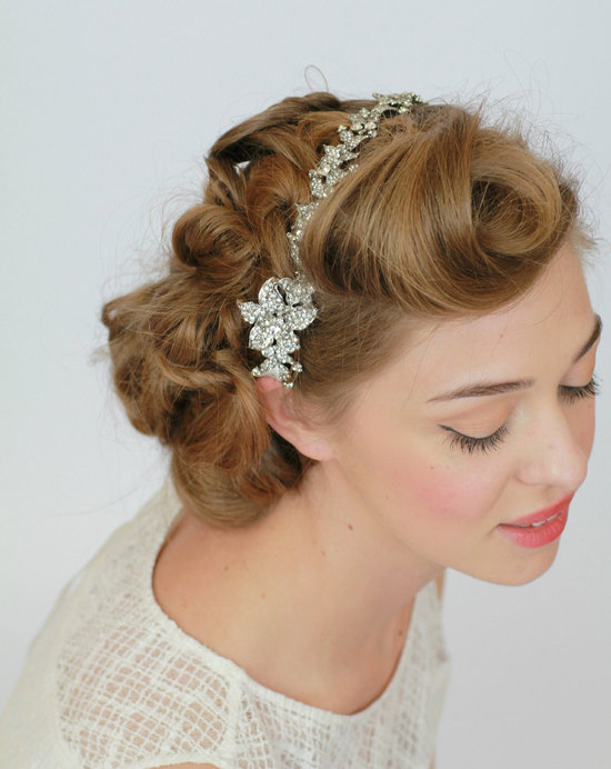 Vintage bride wedding hair accessories crystal headband
