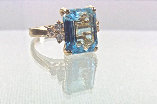 blue topaz vintage engagement ring