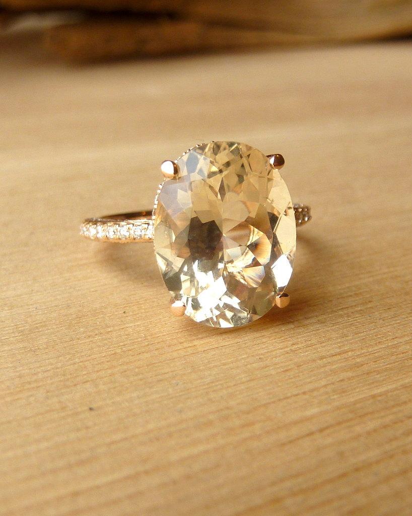 Unique Engagement Ring Sunstone with Diamonds
