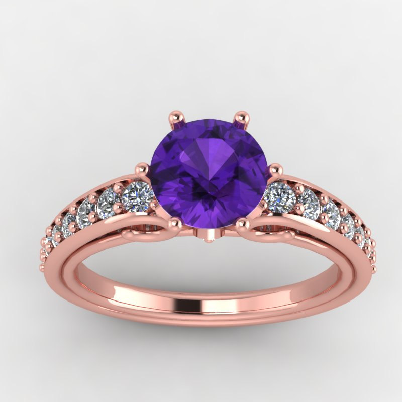 Rose Gold Engagement Ring Amethyst with Diamonds