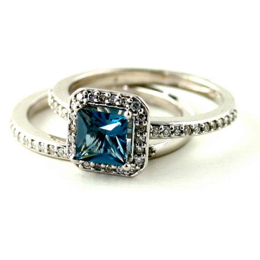 Blue Topaz Cushion Cut Engagement Ring