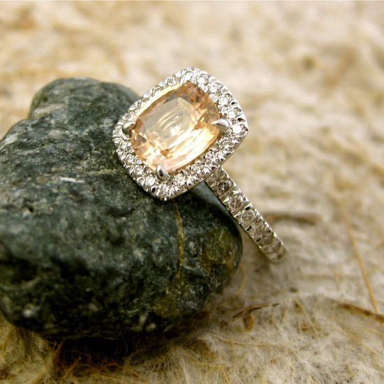 cushion cut engagement ring champagne stone