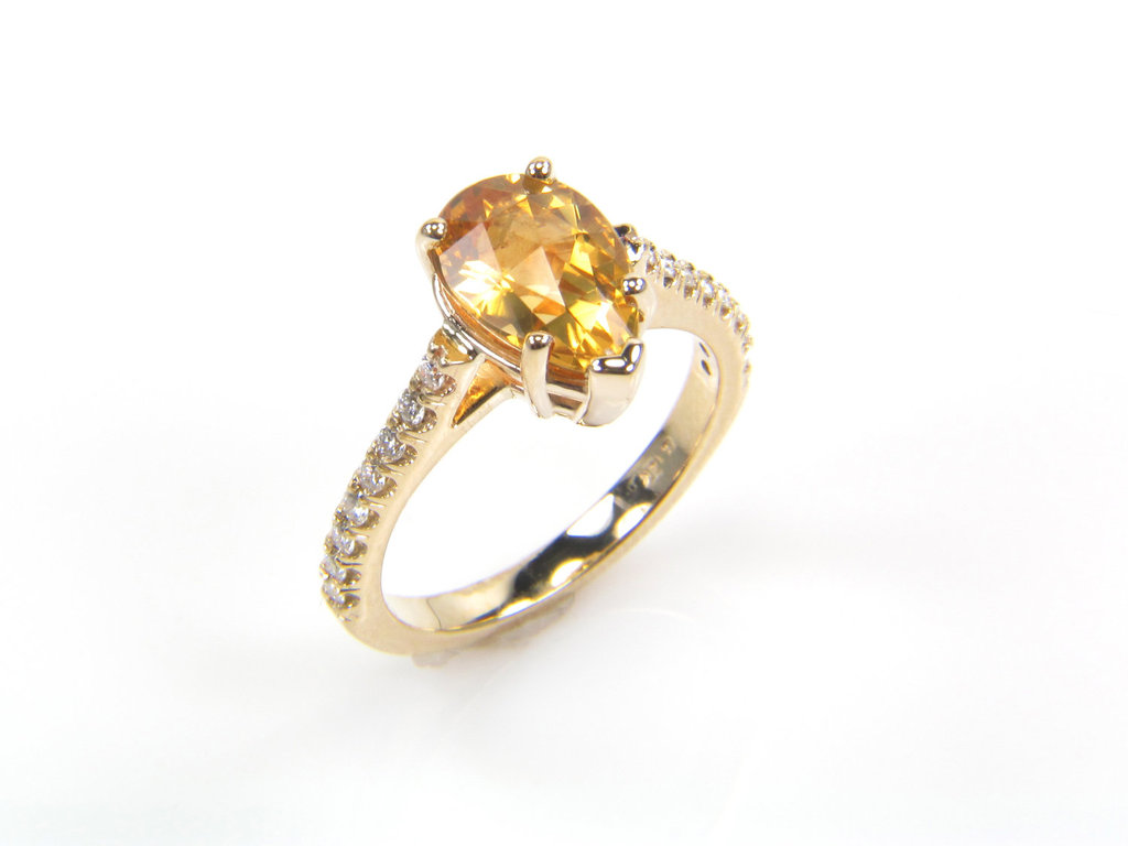 Citrine Engagement Ring in Yello Gold Setting