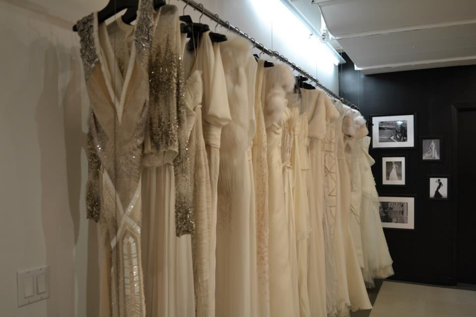 J Mendel 2013 Bridal Gowns Displayed on Rack