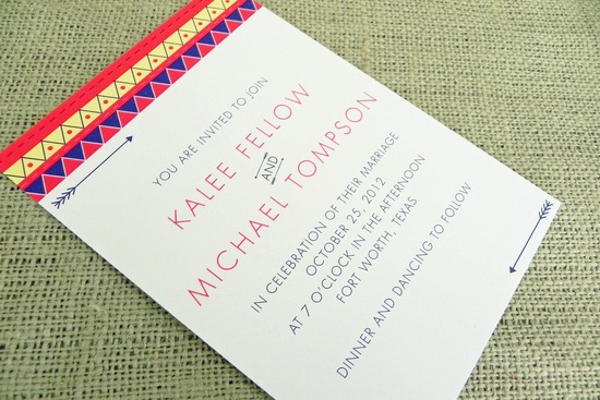 Tribal Wedding Theme Colorful Invitation