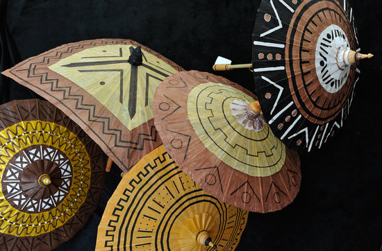 Tribal Painted Parasols for Ethnic Cultural Weddings