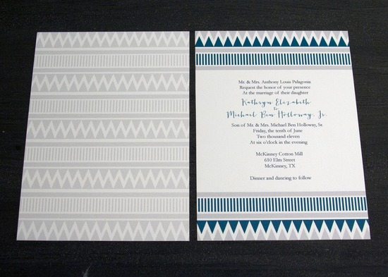 Tribal Inspired Wedding Invitations Navy White Gray