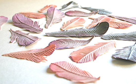 Edible Sugar Feathers for Wedding Cake
