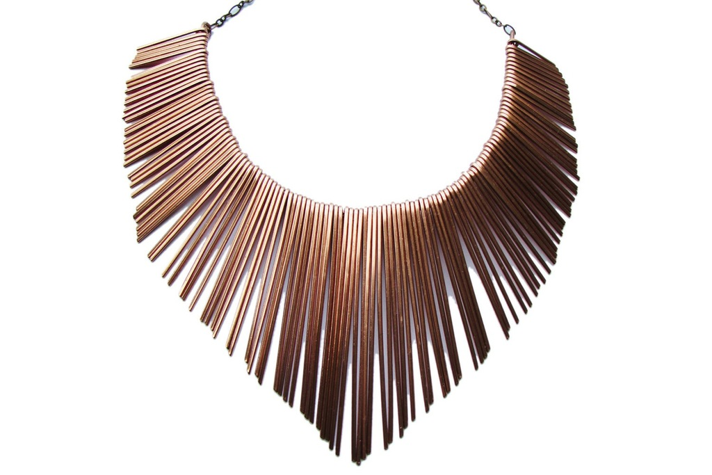 Copper Fringe Tribal Wedding necklace