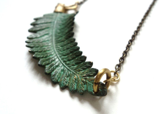 Something Blue Fern Bridal Necklace