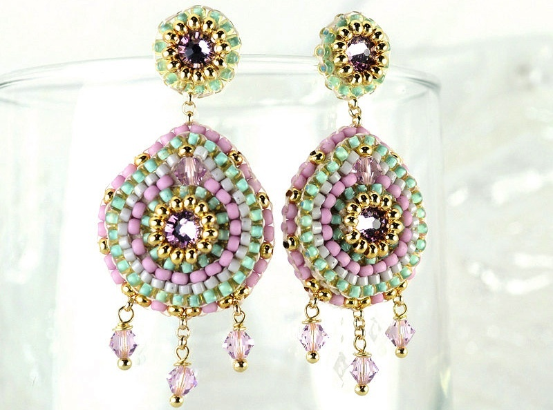 Statement-wedding-earrings-pastel-and-gold-tribal-chandeliers.full