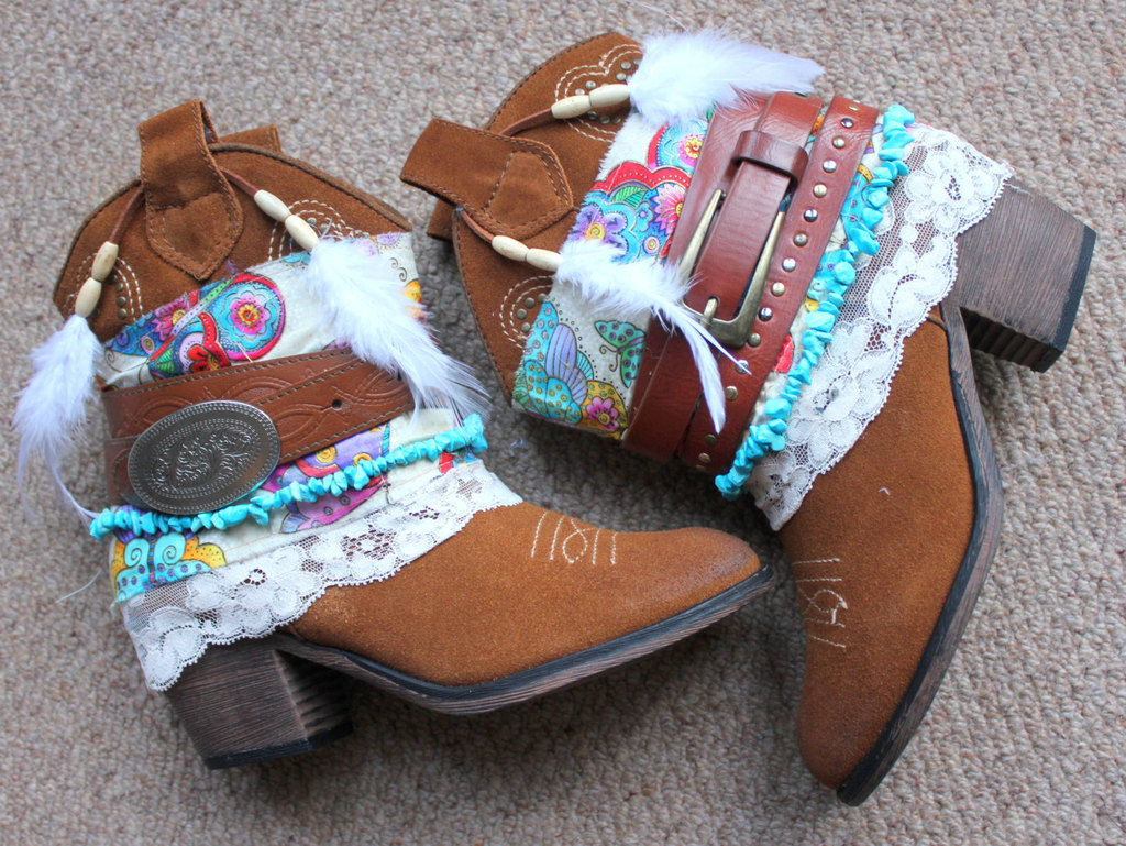Unique Wedding Themes Tribal Bridal Boots