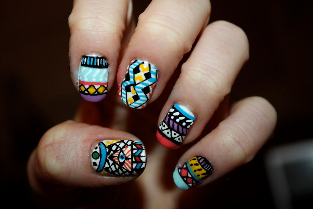 Aztec Tribal Bridal Nails