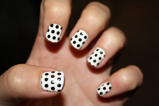 White Black Polka Dot Bridal Manicure