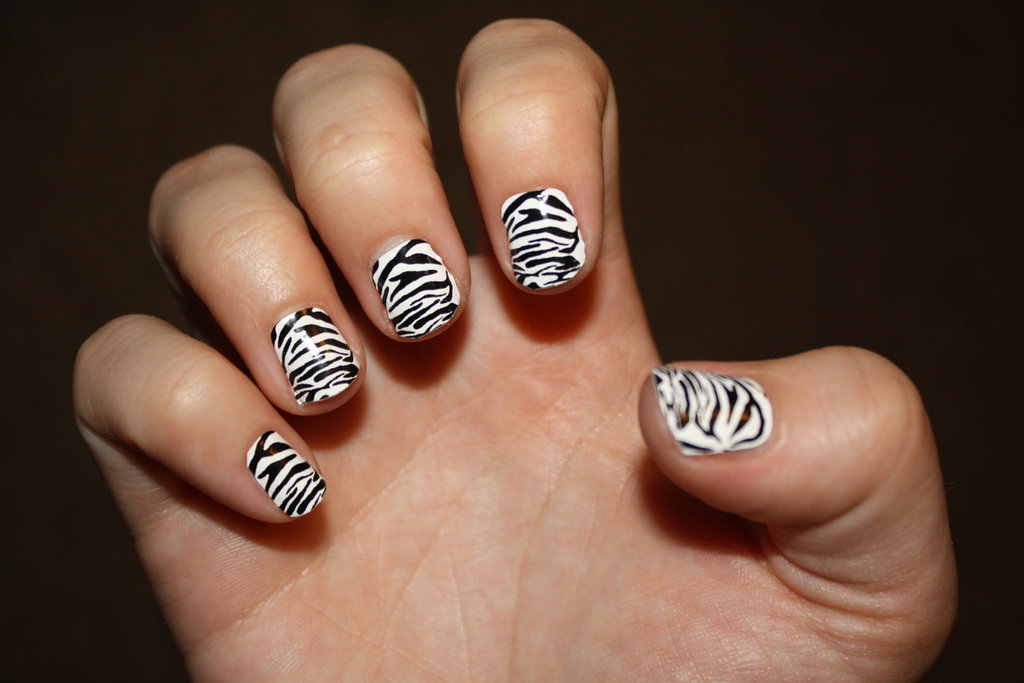zebra wedding nail art black and white