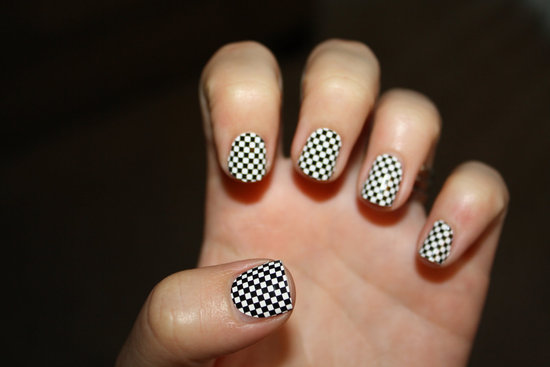 black and white check wedding nail decals