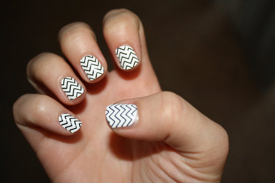 White and Black Chevron Wedding Nail Art