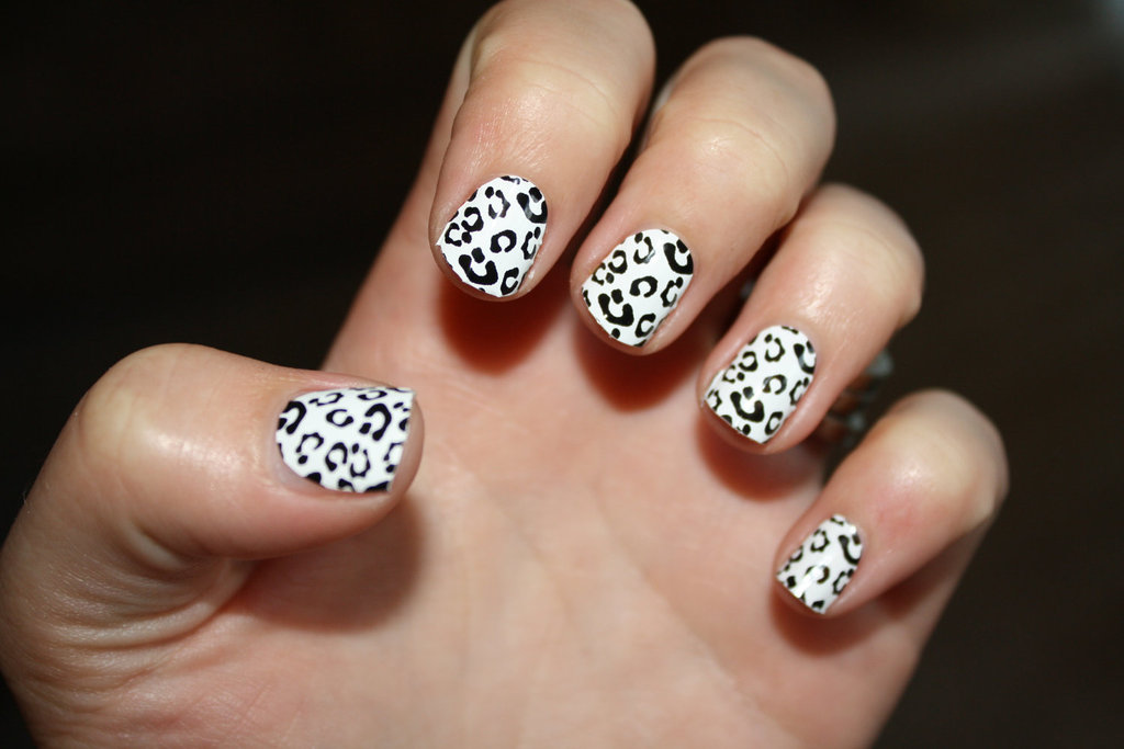 White and Black Wedding Nail Art Animal Print