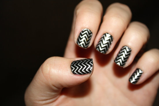 Glam Rock Wedding Style Black Silver Nails