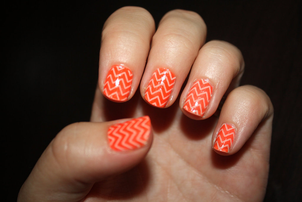 Unique Wedding Nail Art Orange Peach Zig Zag
