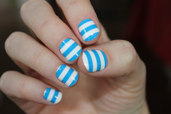 Blue and White Stripe Wedding Nails