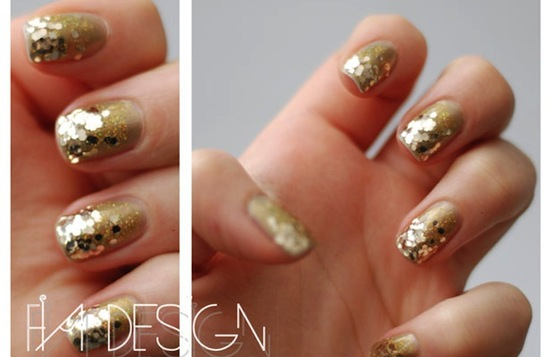 gold sparkle wedding nail art