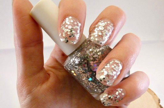 Glitter encrusted wedding day nails