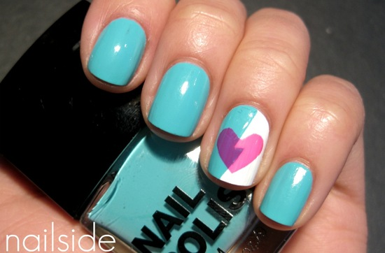 Turquoise pink purple wedding nail art