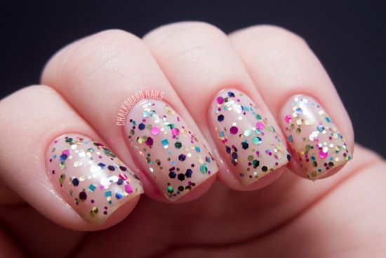 Glittery wedding nails rainbow sparkles
