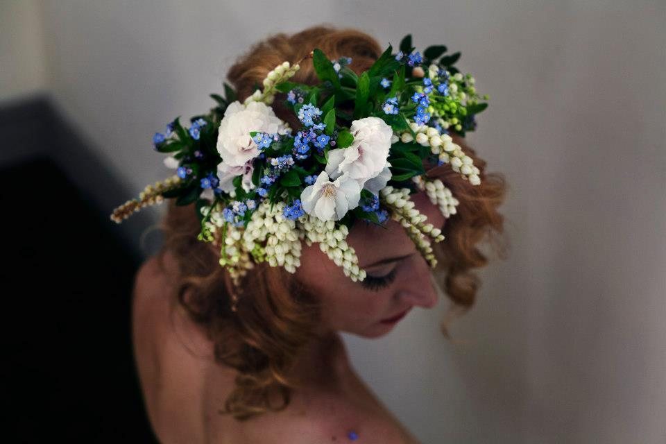 Bohemian Bride Wears Floral Hair Crown