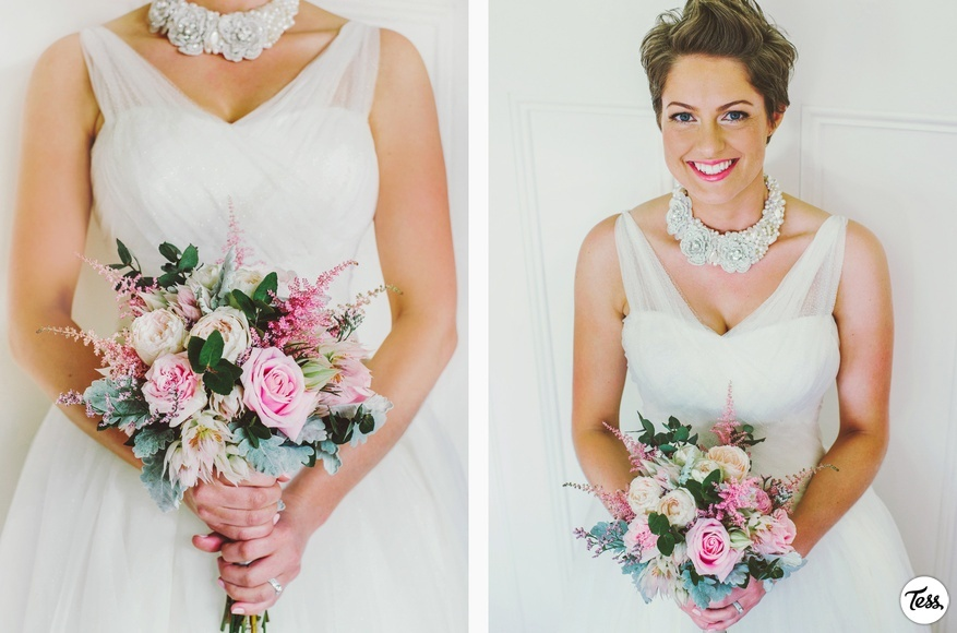 Romantic Bridal Bouquet with Light Pink Roses and Lambs Ear