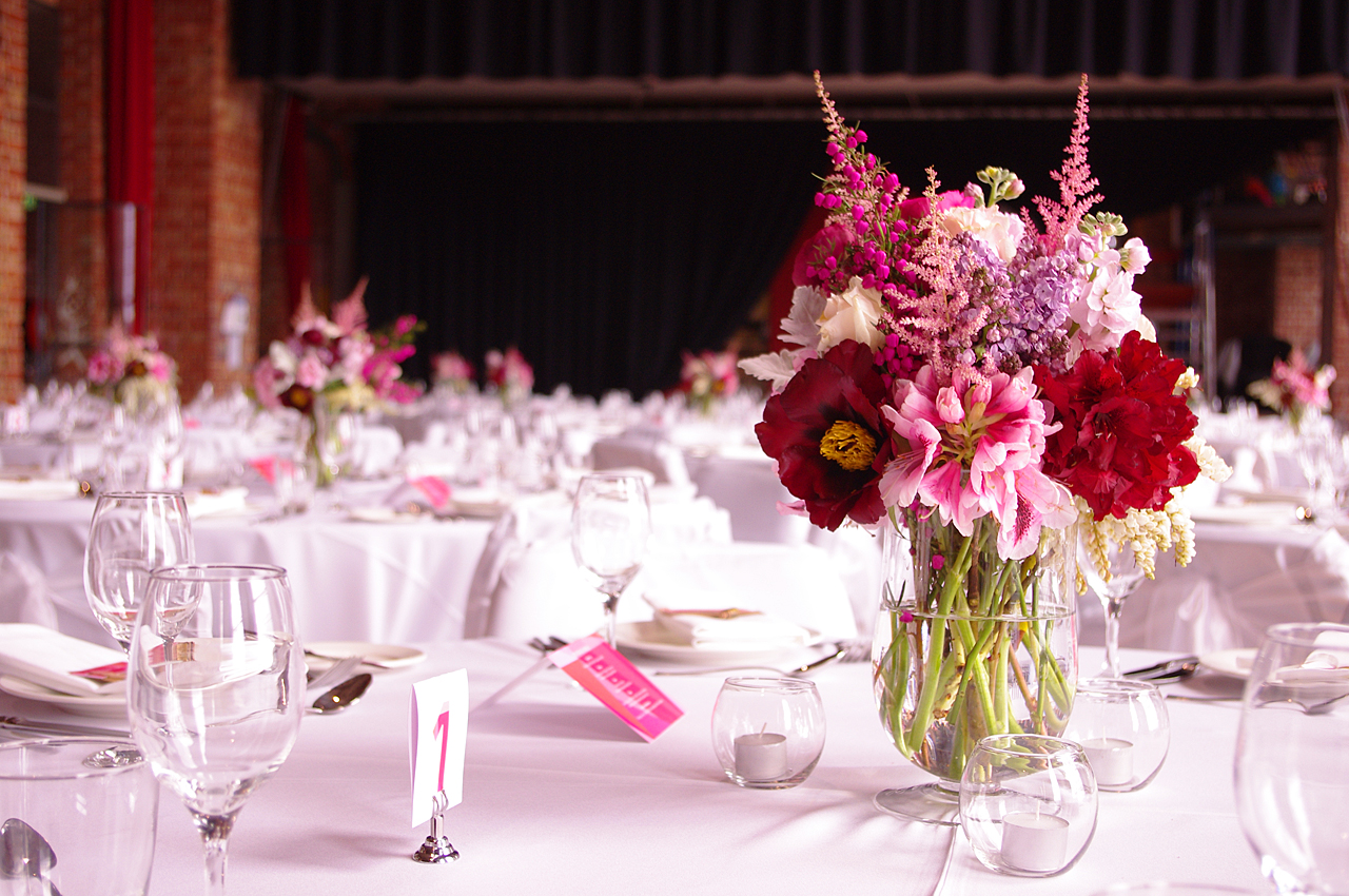 Romantic Pink and Red Wedding Flower Centerpieces