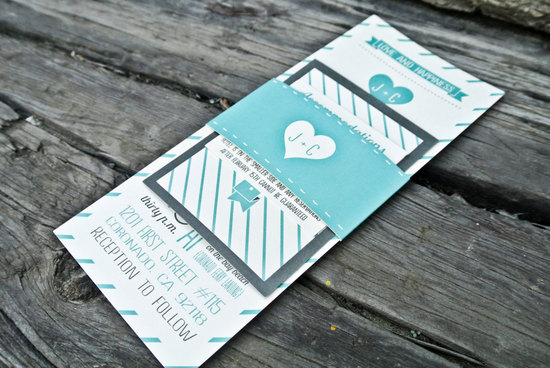 Turquoise, white and gray modern wedding invitations