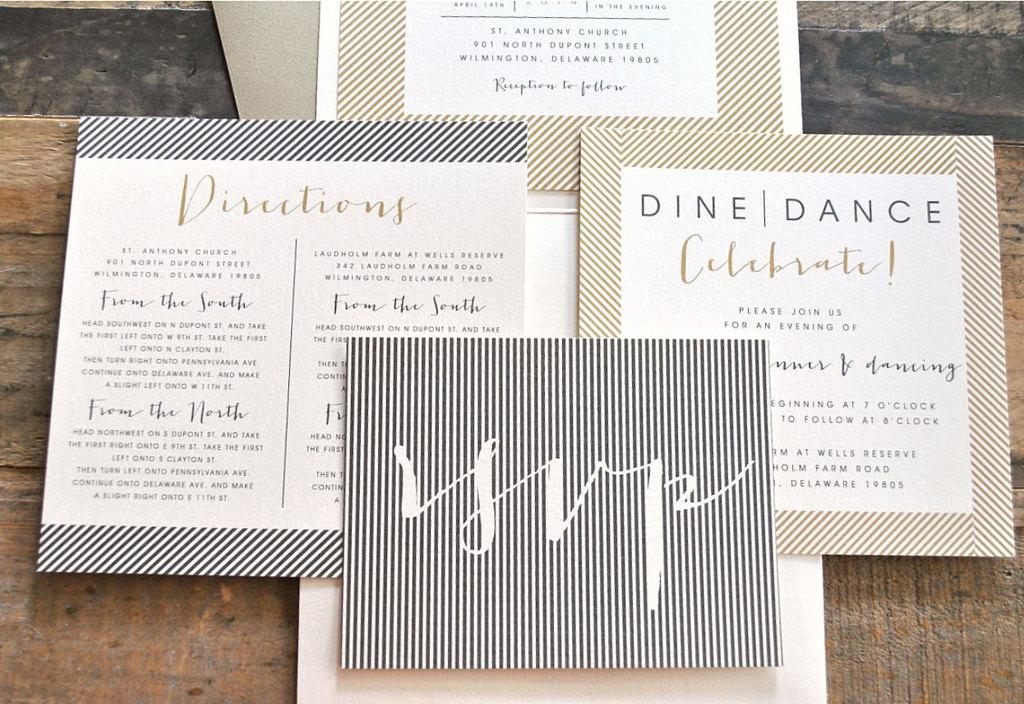 Elegant Modern Wedding Invitations Skinny Stripes Beige Black Ivory