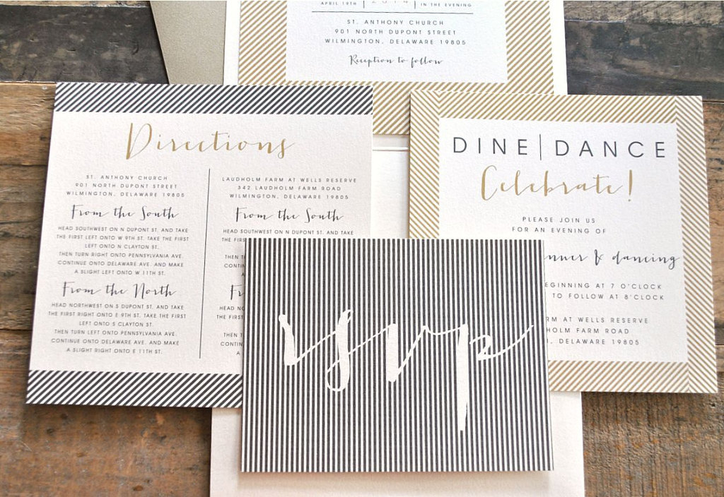 modern wedding invitations skinny stripes beige black ivory