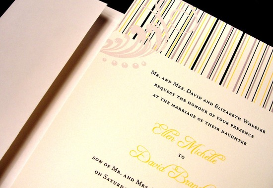 Flourish Striped Wedding Invitations