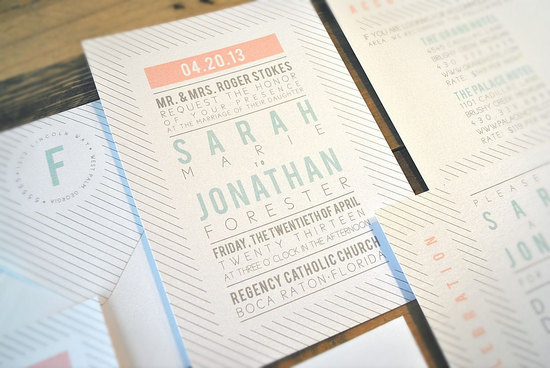 Muted Neutrals Striped Wedding Invitations