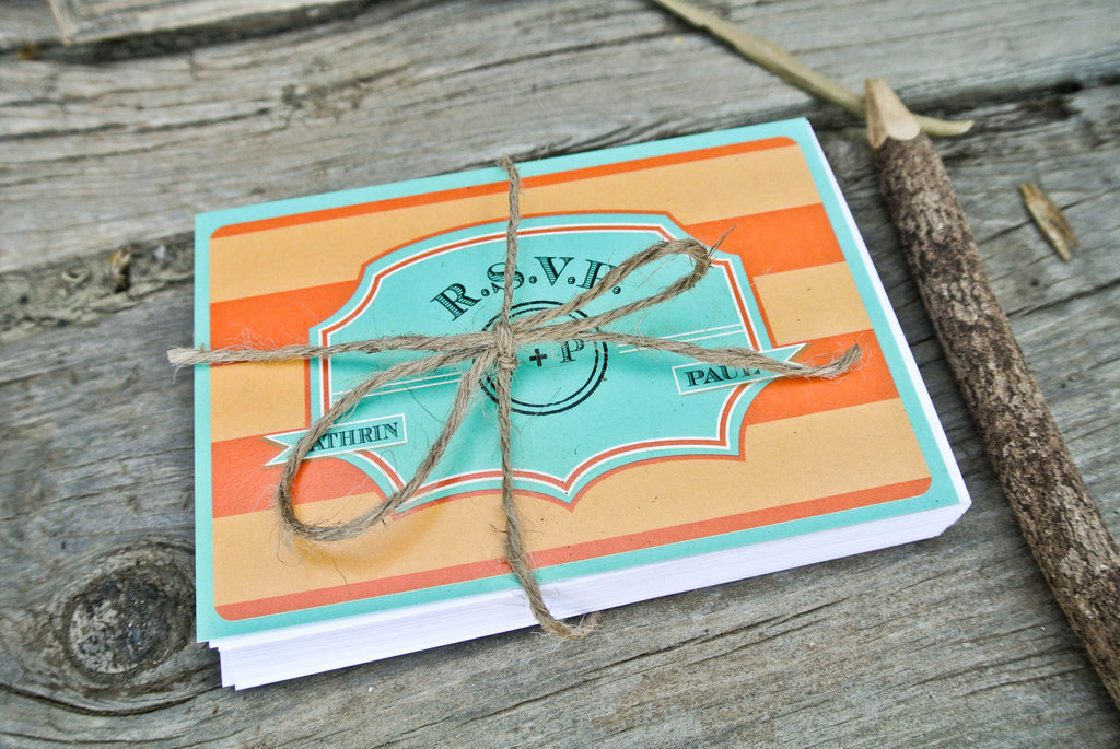 Orange and Turquoise Striped Wedding Invitations